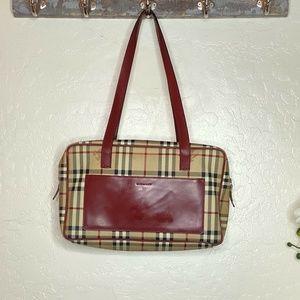 Burberry Vintage Haymarket Check Shoulder Tote Bag